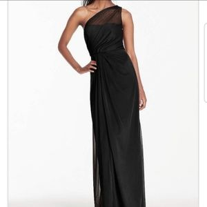 David's Bridal one shoulder black bridesmaid dress